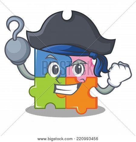 Pirate puzzle character cartoon style vector illustration