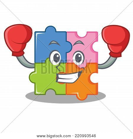 Boxing puzzle character cartoon style vector illustration