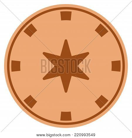 6-Finger Star copper casino chip icon. Vector style is a copper flat gambling token item.