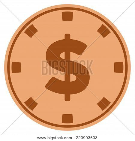 American Dollar bronze casino chip pictogram. Vector style is a bronze flat gamble token symbol.