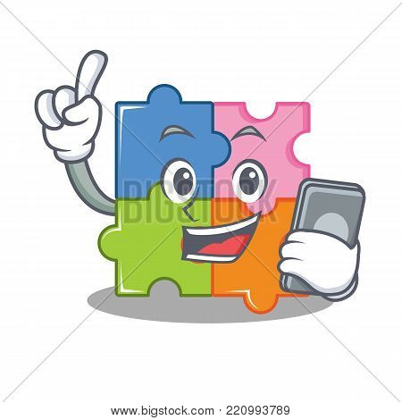 With phone puzzle character cartoon style vector illustration