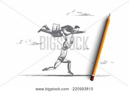 Business automation concept. Hand drawn running robot with businessman on hands. Machine technologies in business isolated vector illustration.