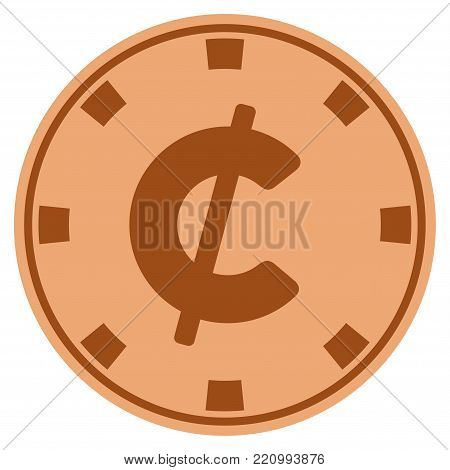 Cent copper casino chip pictogram. Vector style is a copper flat gamble token symbol.