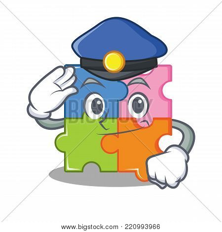 Police puzzle character cartoon style vector illustration