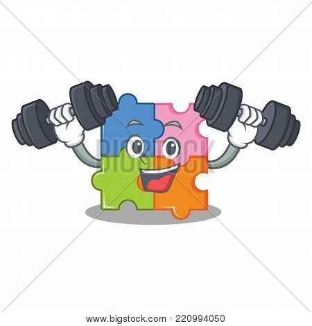 Fitness puzzle character cartoon style vector illustration