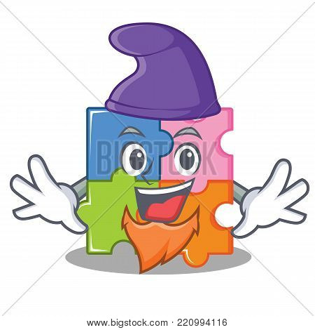 elf puzzle character cartoon style vector illustration