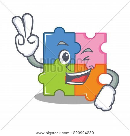 Two finger puzzle character cartoon style vector illustration