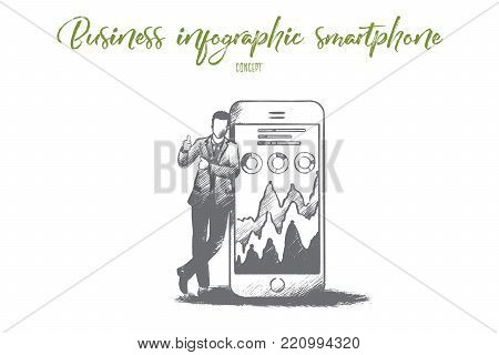 Business infographic smartphone concept. Hand drawn smartphone screen with schedule. Businessman makes a report on a smartphone isolated vector illustration.