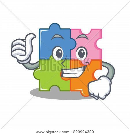 Thumbs up puzzle character cartoon style vector illustration