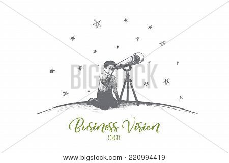 Business vision concept. Hand drawn looking for success via telescope monocular. Businessman searching for new idea isolated vector illustration.