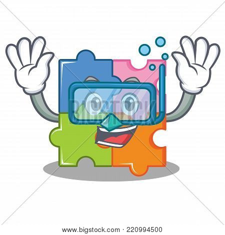 Diving puzzle character cartoon style vector illustration