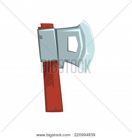Cartoon letter P formed by ax with wooden handle. Original character in flat style. English alphabet concept. Design for mobile game, poster or print. Vector illustration isolated on white background.