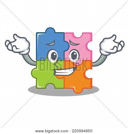 Afraid puzzle character cartoon style vector illustration
