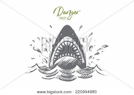 Danger concept. Hand drawn mouth of a shark like symbol of danger. Sea predator isolated vector illustration.