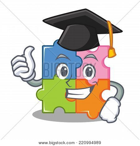 Graduation puzzle character cartoon style vector illustration