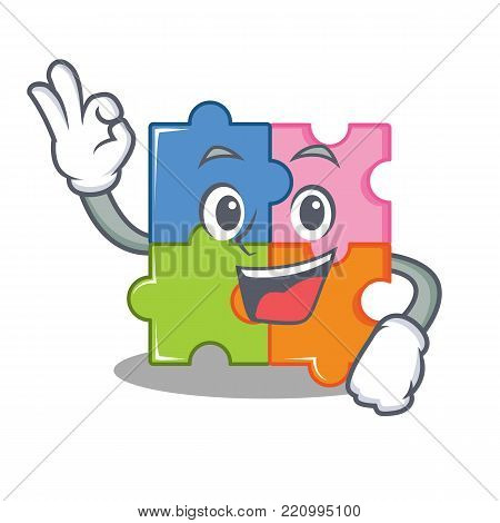 Okay puzzle character cartoon style vector illustration