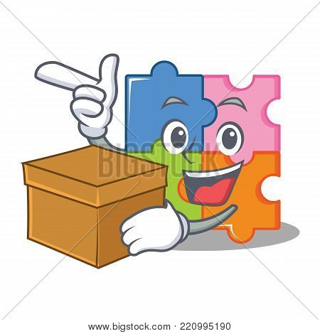 With box puzzle character cartoon style vector illustration