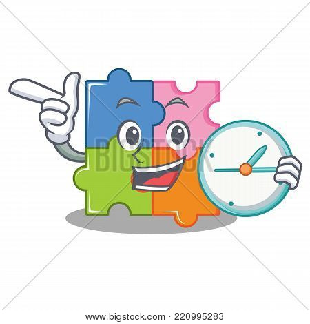 With clock puzzle character cartoon style vector illustration