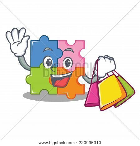 Shopping puzzle character cartoon style vector illustration
