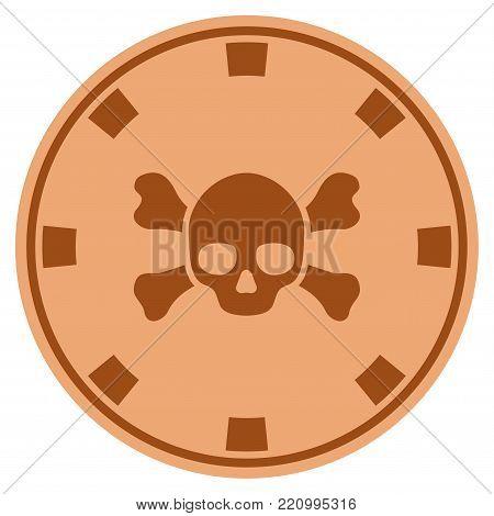 Skull Crossbones bronze casino chip icon. Vector style is a copper flat gambling token symbol.