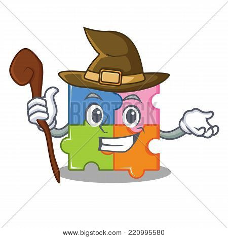 Witch puzzle mascot cartoon style vector illustration