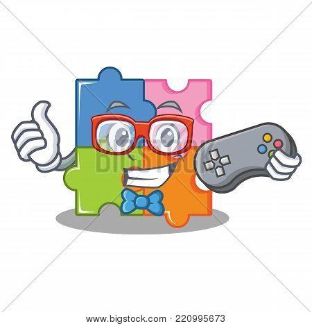 Gamer puzzle mascot cartoon style vector illustration
