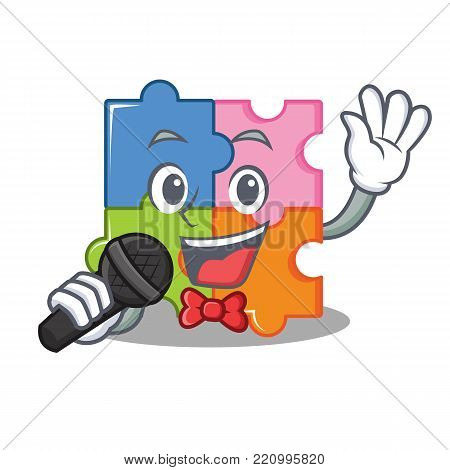 Singing puzzle mascot cartoon style vector illustration