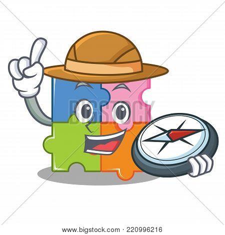 Explorer puzzle mascot cartoon style vector illustration