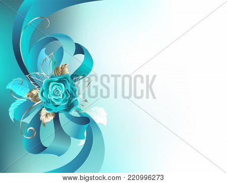 Turquoise silk bow with a turquoise rose with gold leaves on a light background. Fashionable color. Turquoise roses. White gold. Blue tiffany.