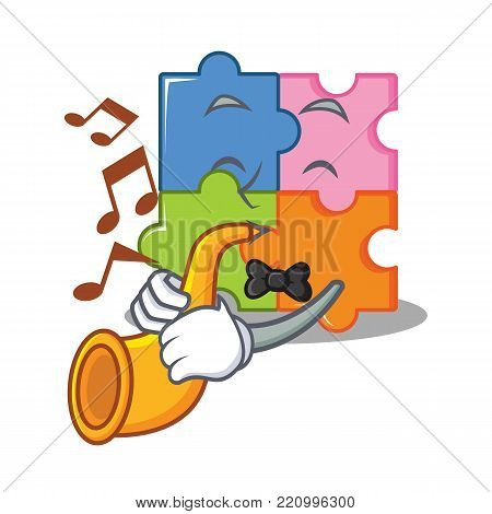 With trumpet puzzle mascot cartoon style vector illustration