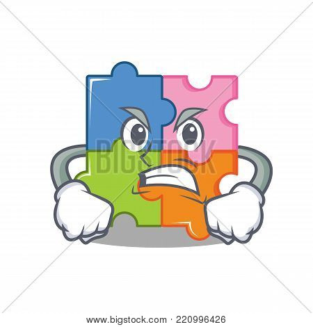 Angry puzzle mascot cartoon style vector illustration