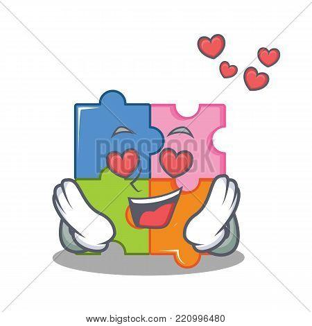 In love puzzle mascot cartoon style vector illustration