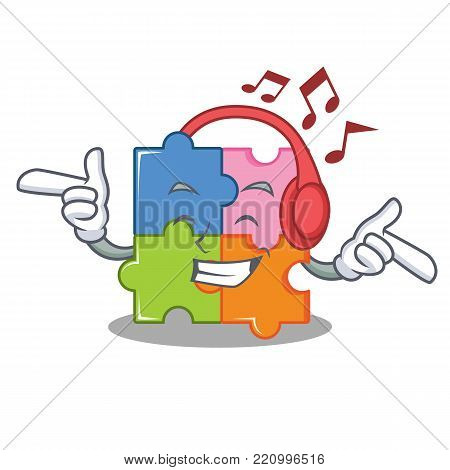 Listening music puzzle mascot cartoon style vector illustration