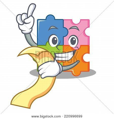 With menu puzzle mascot cartoon style vector illustration