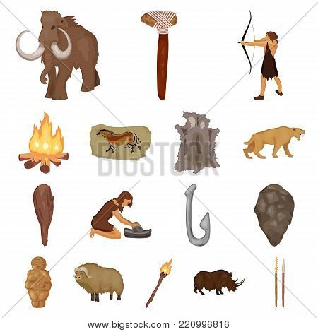 Life in the Stone Age cartoon icons in set collection for design. Ancient people vector symbol stock  illustration.