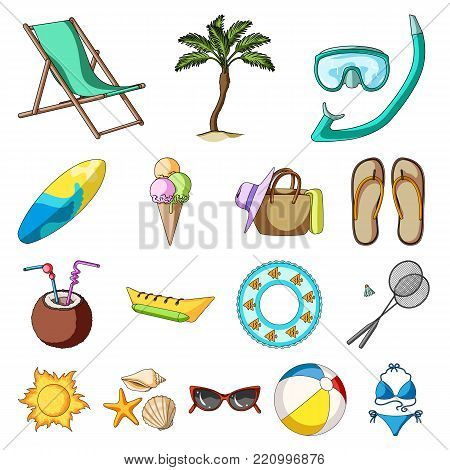 Summer rest cartoon icons in set collection for design. Beach accessory vector symbol stock  illustration.