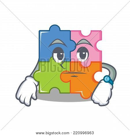 Waiting puzzle mascot cartoon style vector illustration