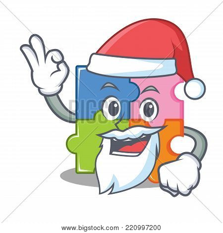 Santa puzzle mascot cartoon style vector illustration