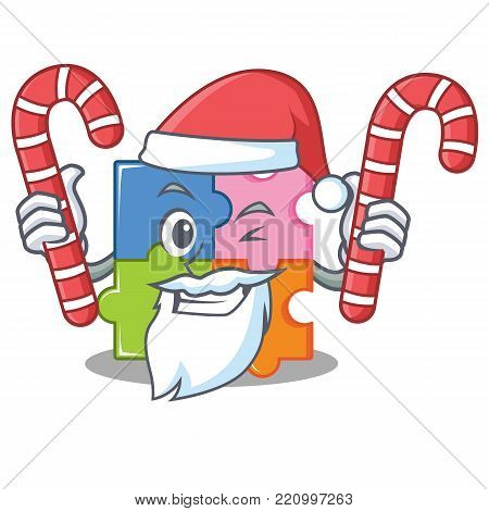 Santa with candy puzzle mascot cartoon style vector illustration