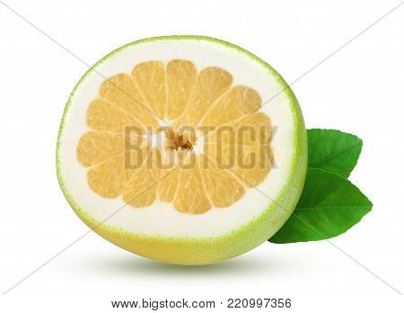 slice of Citrus Sweetie or Pomelit, oroblanco with leaf isolated on white background close-up.