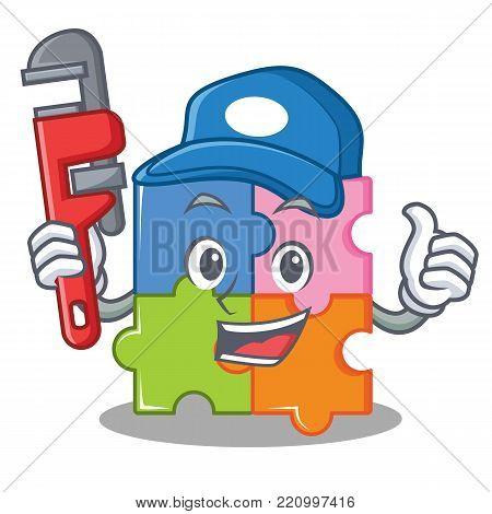 Plumber puzzle mascot cartoon style vector illustration