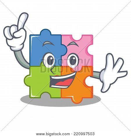 Finger puzzle mascot cartoon style vector illustration