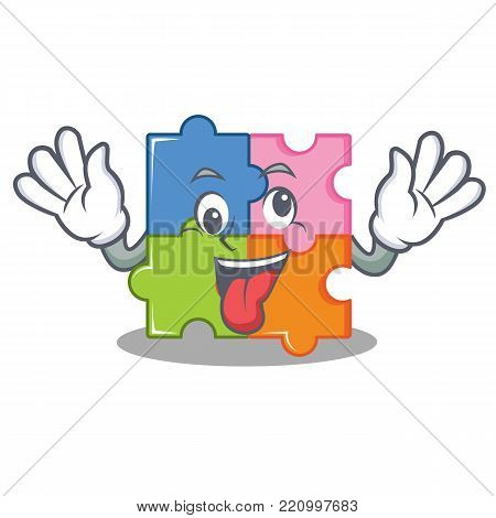 Crazy puzzle mascot cartoon style vector illustration