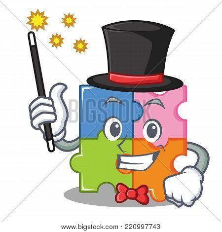 Magician puzzle mascot cartoon style vector illustration