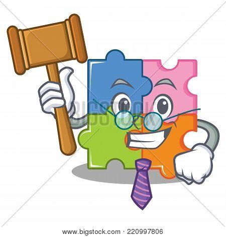 Judge puzzle mascot cartoon style vector illustration