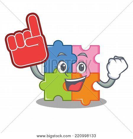 Foam finger puzzle mascot cartoon style vector illustration
