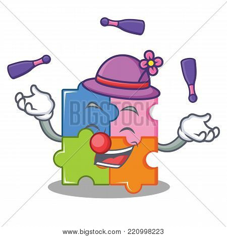 Juggling puzzle mascot cartoon style vector illustration