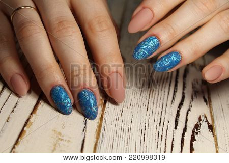 Manicured nails Nail Polish art design. Nail Polish. Beauty hands.