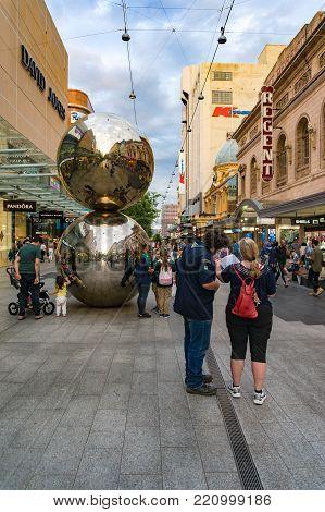 Adelaide, Australia - November 10, 2017: Malls Balls At Rundle Mall