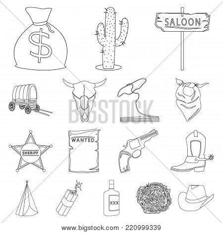 Attributes of the wild west outline icons in set collection for design.Texas and America vector symbol stock  illustration.